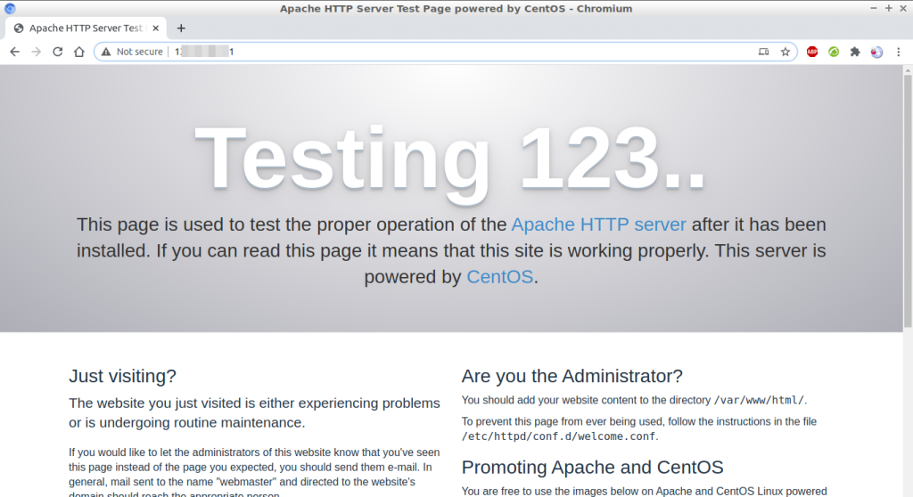 CentOS 7 Apache HTTP Server Test Page (httpd service)