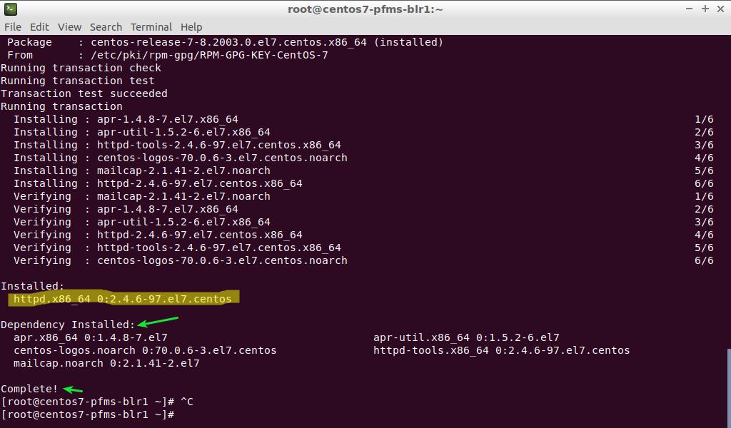 CentOS 7 httpd installation complete