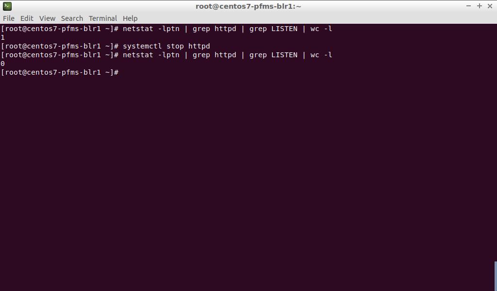 CentOS 7 netstat -lptn (httpd testing)