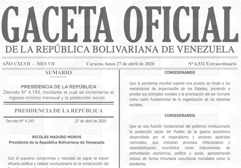 Gaceta Oficial Extraordinario 6.532 sumario 6532