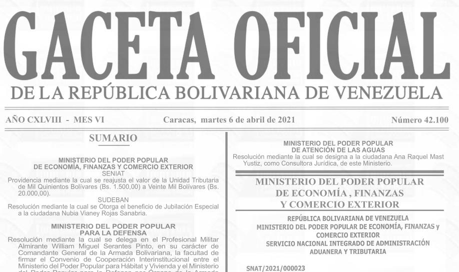 Gaceta Oficial 42.100, sumario 42100