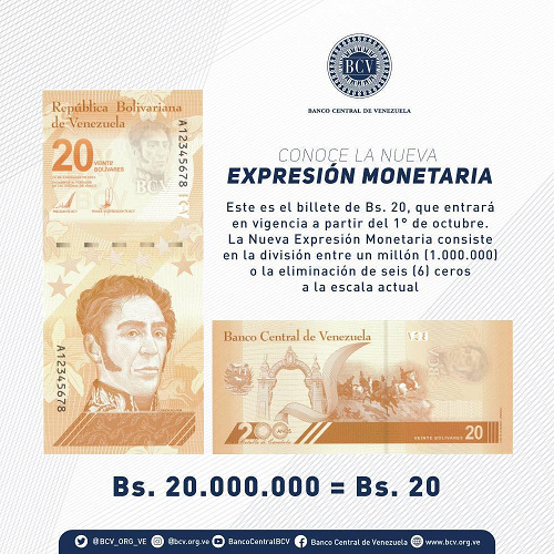 Bolívar Digital billete de 20