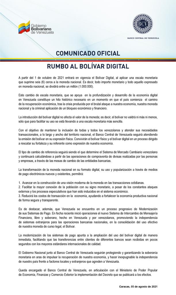 Comunicado oficial Rumbo al Bolívar Digital