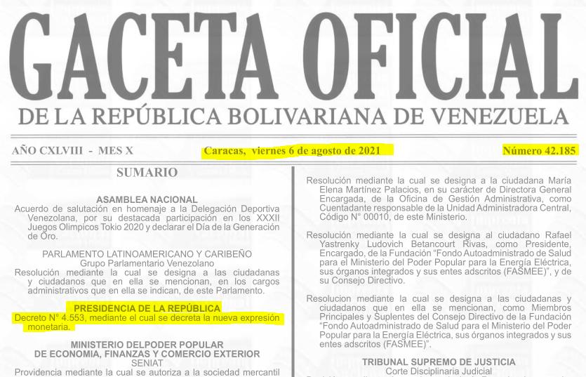 Gaceta Oficial Nº 42.185, sumario (# 42185).