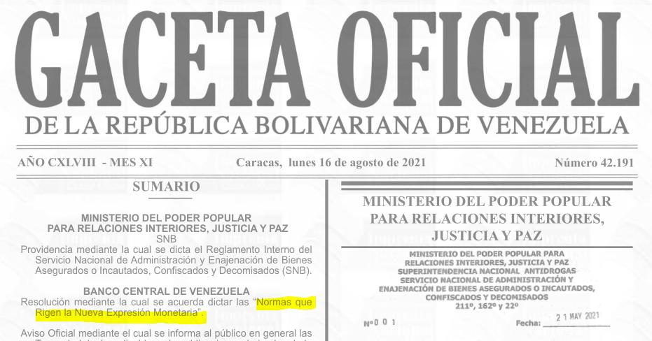 Gaceta Oficial Nº 42.191, sumario (# 42191).